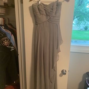 David's Bridal Gray bridesmaid dress